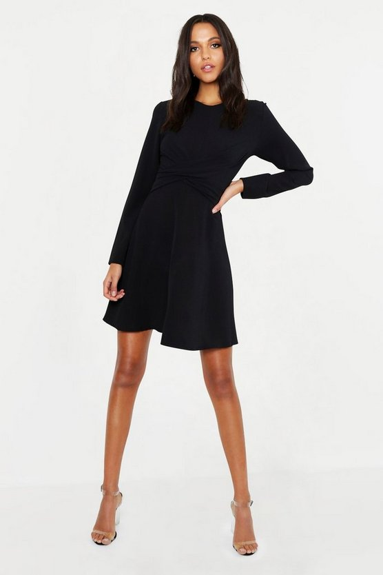 Womens Black Tall Wrap Front Woven Skater Dress