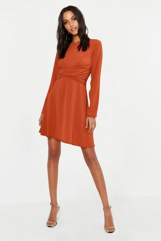 Womens Terracotta Tall Wrap Front Woven Skater Dress