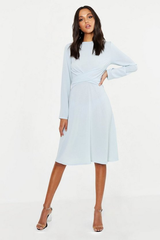 Tall Wrap Front Woven Midi Dress
