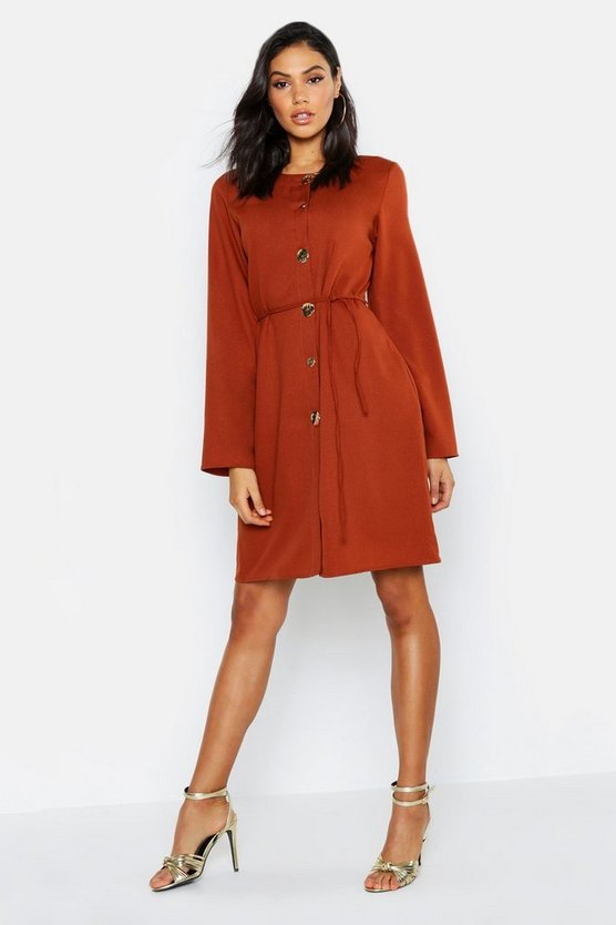 Tall Button Front Tie Waist Shift Dress