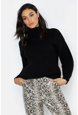 Womens Black Tall Roll Neck Knitted Jumper
