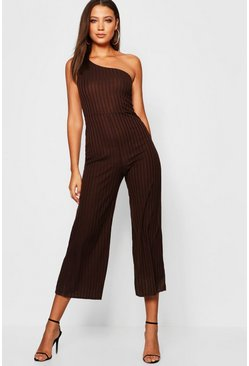 Womens Chocolate Tall One Shoulder Rib Wide Leg Jumpsuit