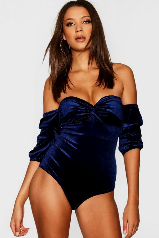 Tall Off The Shoulder Ruched Sleeve Bodysuit