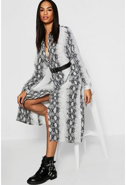 Womens Grey Tall Snake Oversized Shirt Dress
