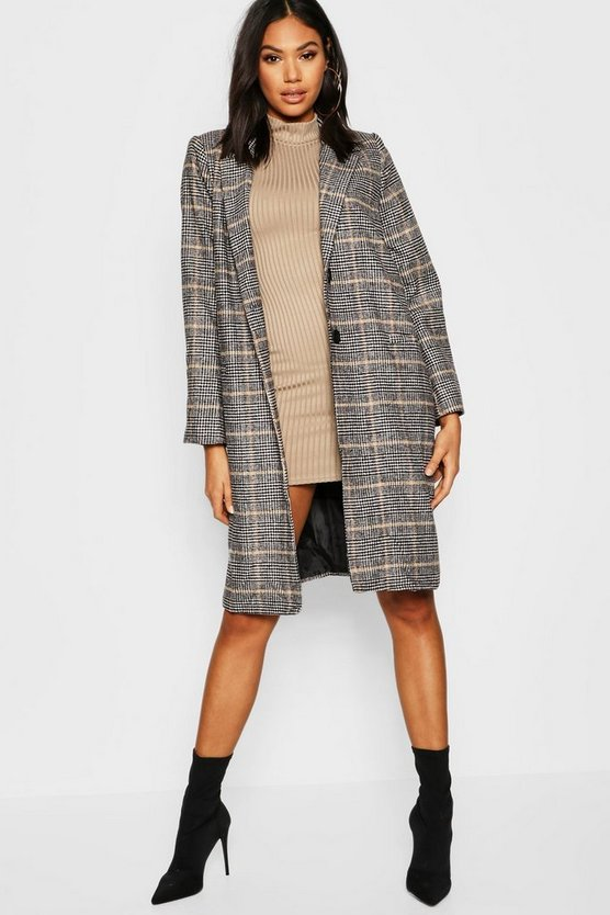 Womens Stone Tall Check Wool Coat