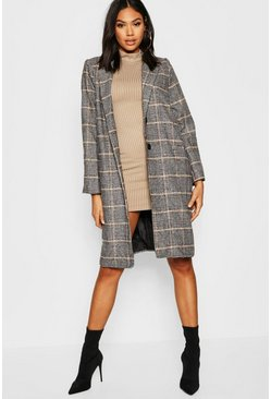 Tall Check Wool Coat, Stone, Женские