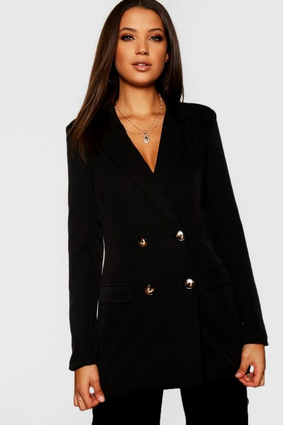 Womens Black Tall Mock Horn Button Double Breasted Blazer