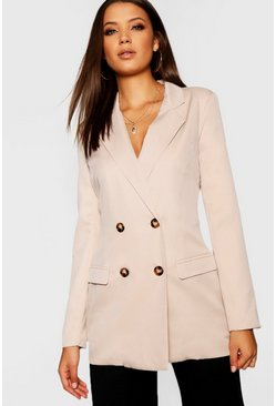 Womens Stone Tall Mock Horn Button Double Breasted Blazer