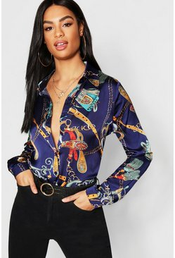 Navy Tall Chain Print Shirt