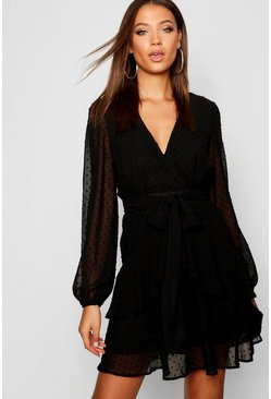 Black Tall Ruffle Hem Chiffon Mini Dress