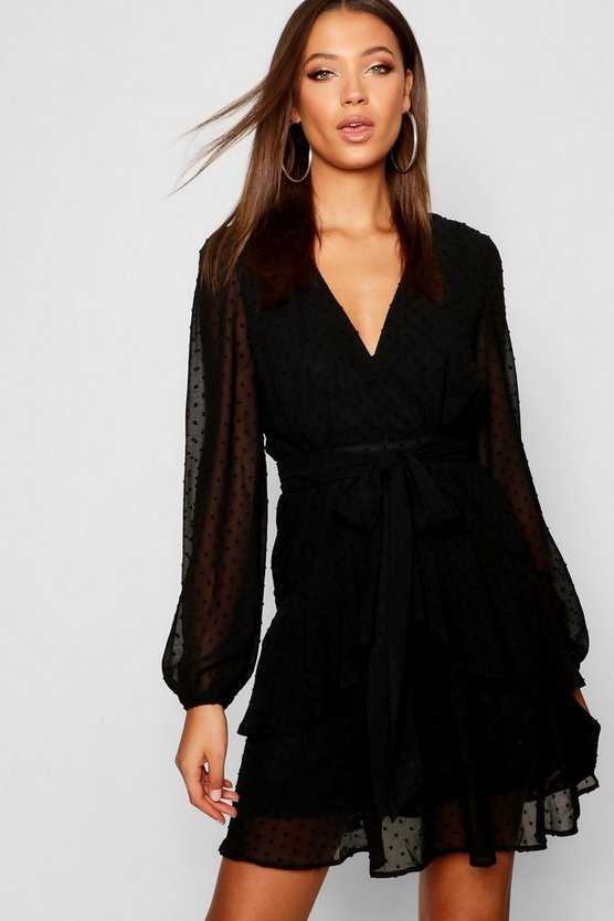 Womens Black Tall Ruffle Hem Chiffon Mini Dress