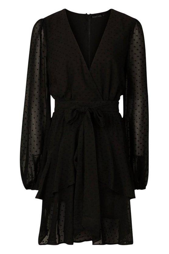 Robe Mini En Mousseline De Soie à Ourlet Volanté Tall by Boohoo