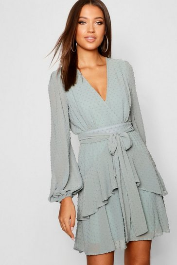 Sage Tall Ruffle Hem Chiffon Mini Dress
