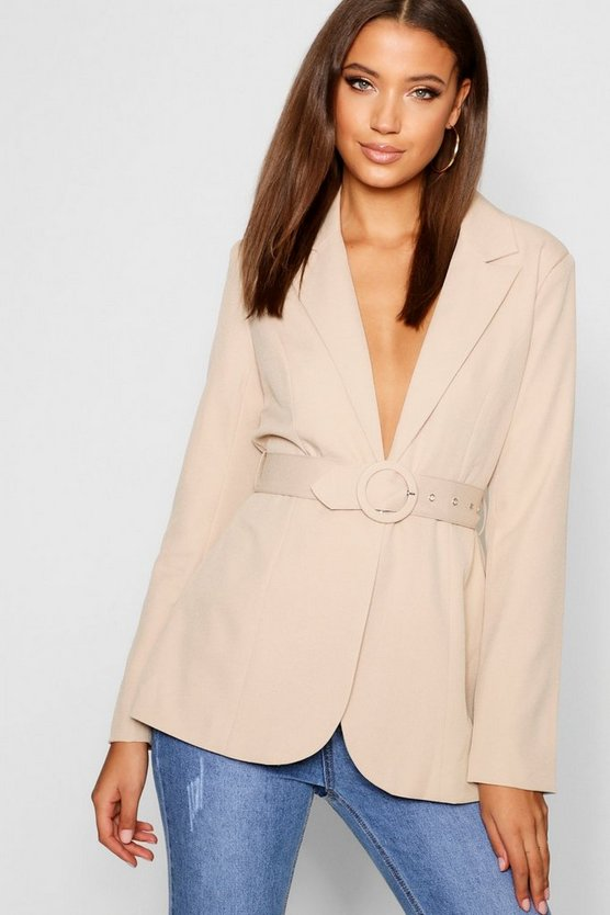 Womens Stone Tall Self Fabric Belted Woven Blazer