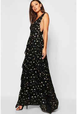 Womens Black Tall Metallic Star Ruffle Maxi Dress