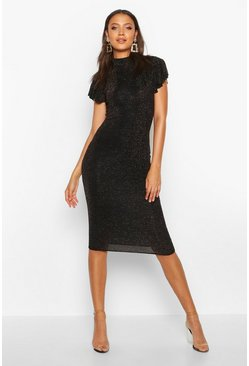 Womens Black Tall Shimmer High Neck Angel Sleeve Midi Dress