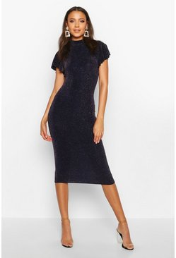 Tall Shimmer High Neck Angel Sleeve Midi Dress, Navy, MUJER