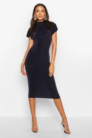 Womens Navy Tall Shimmer High Neck Angel Sleeve Midi Dress