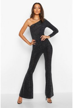 Tall Shimmer Flared Trouser, Black