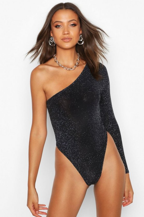 Womens Black Tall One Shoulder Glitter Bodysuit