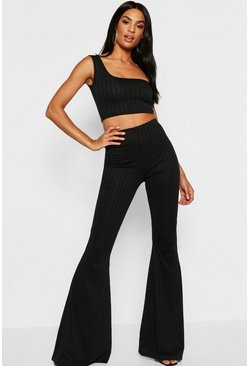 Womens Black Tall Ribbed Skinny Flares