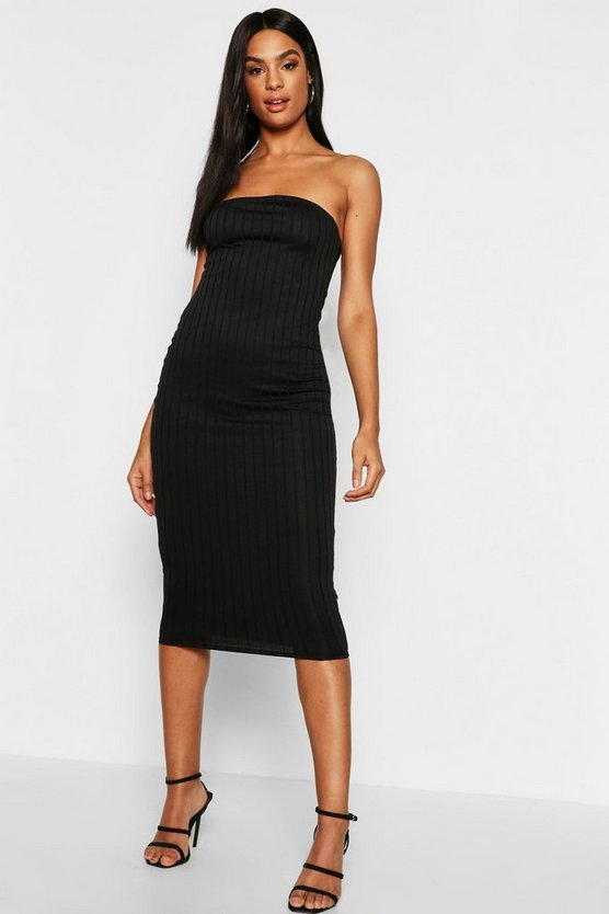 Womens Black Tall Bandeau Rib Midi Dress