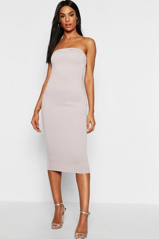 Tall Bandeau Rib Midi Dress