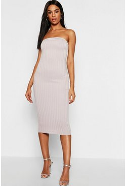 Womens Grey Tall Bandeau Rib Midi Dress