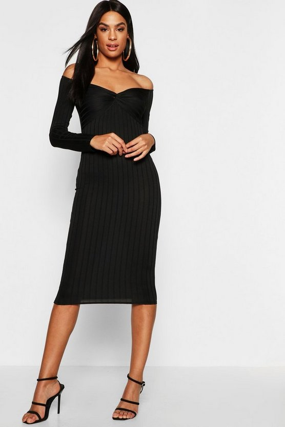Womens Black Tall Ribbed Off The Shoulder Twist Midi Dress