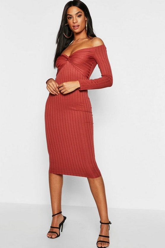 Tall Ribbed Off The Shoulder Twist Midi Dress