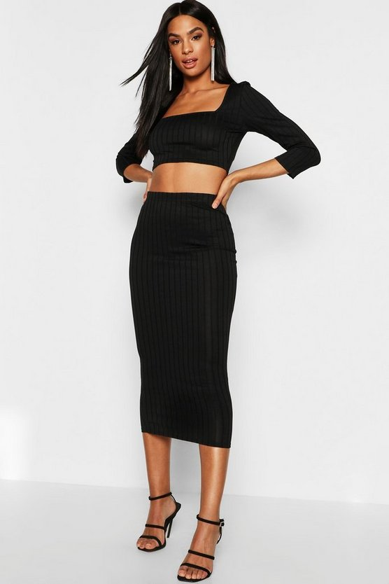 Tall Ribbed High Waist Midaxi Skirt