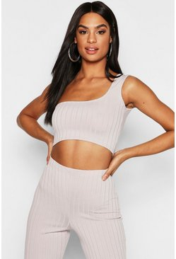 Womens Grey Tall Ribbed One Shoulder Crop Top