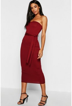 Womens Berry Tall Ribbed Bandeau Belted Midaxi Dress