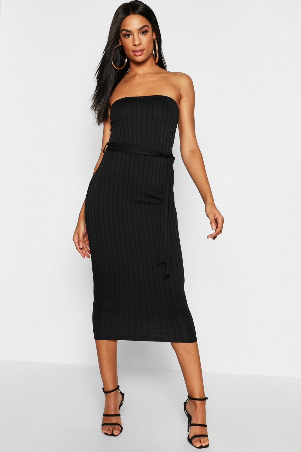 5488783f68c Tall Ribbed Bandeau Belted Midaxi Dress