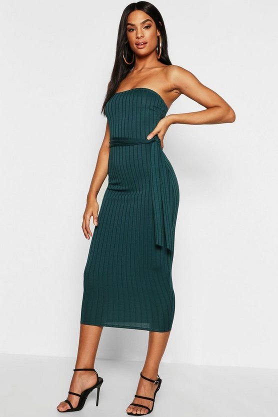 Tall Ribbed Bandeau Belted Midaxi Dress