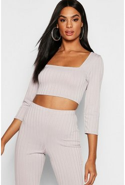 Womens Grey Tall Ribbed Long Sleeve Crop Top
