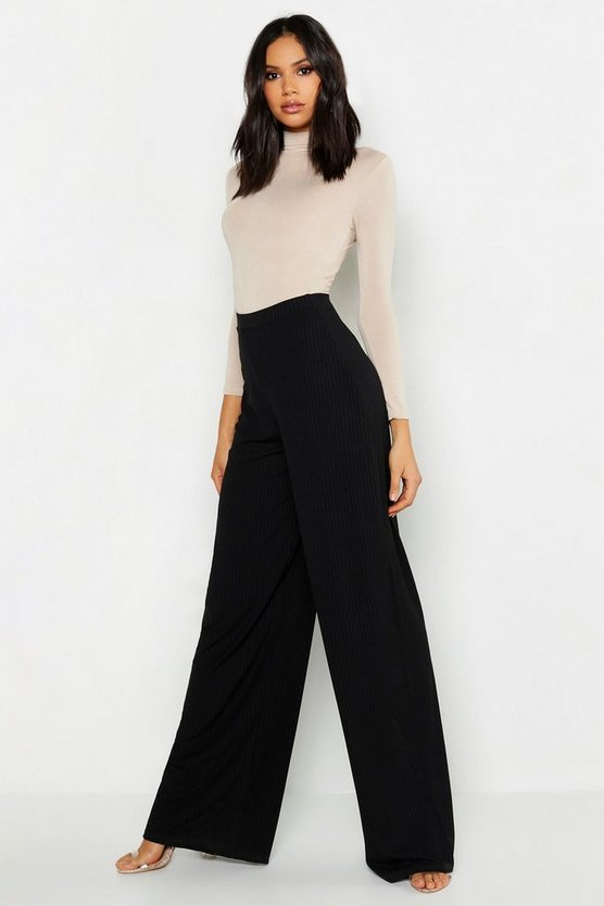 Womens Black Tall Jumbo Rib Wide Legged Trouser