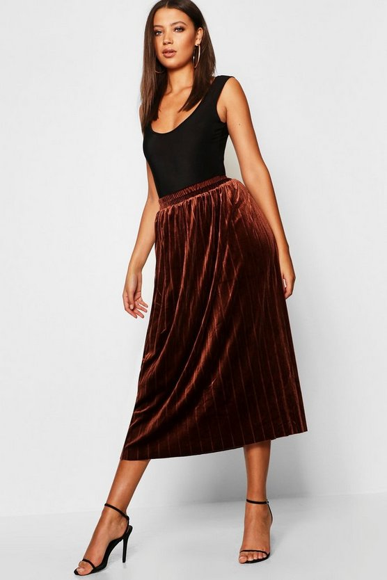 Womens Camel Tall Pleated Velvet Midi Skirt