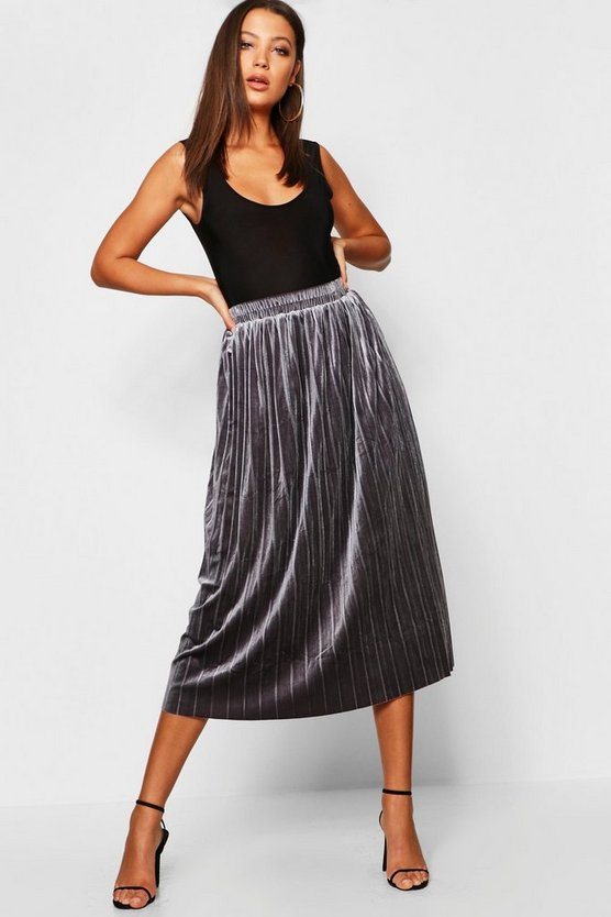 Tall Pleated Velvet Midi Skirt