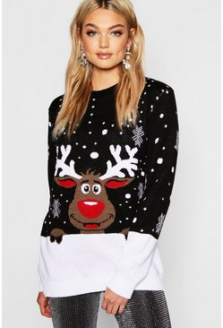 Womens Black Tall Reindeer Christmas Jumper