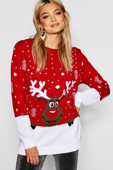 Womens Red Tall Reindeer Christmas Jumper