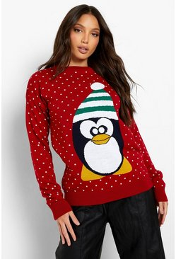 Red Tall Penguin Christmas Jumper