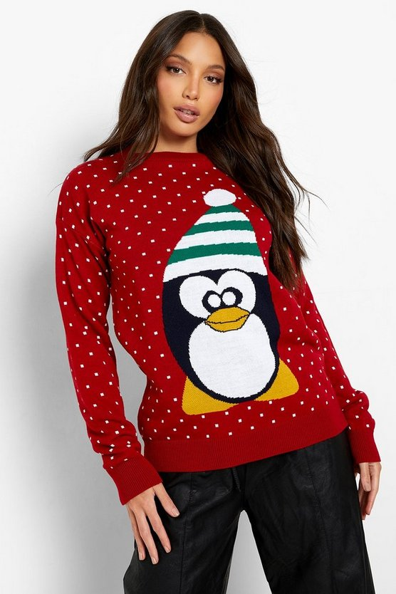 Womens Red Tall Penguin Christmas Jumper