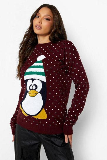 Wine Tall Penguin Christmas Jumper