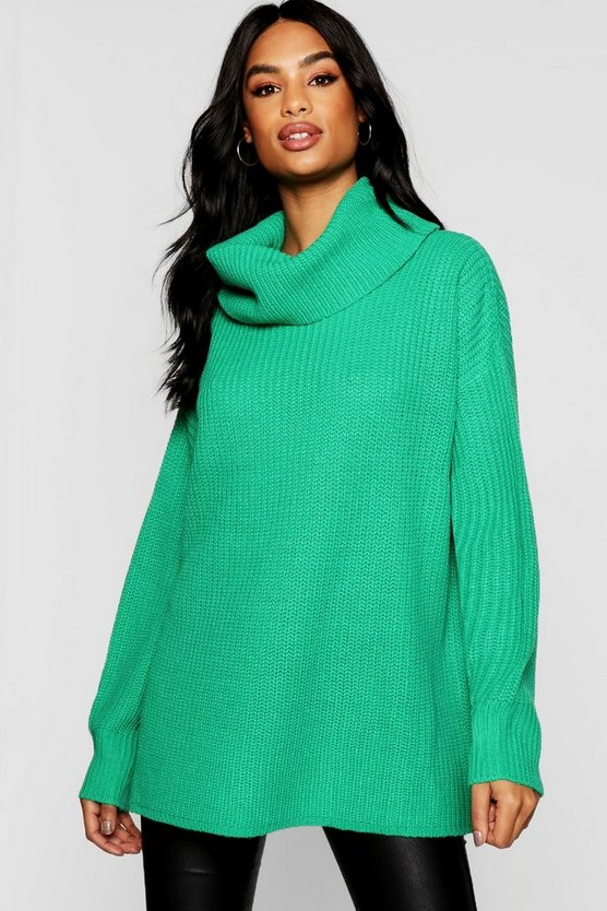 Tall Oversized Chunky Roll Neck Jumper