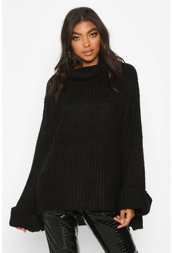 Womens Black Tall Turn Up Cuff Rib Jumper