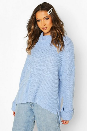 Blue Tall Turn Up Cuff Rib Jumper