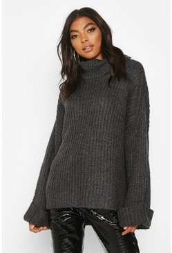 Womens Charcoal Tall Turn Up Cuff Rib Jumper
