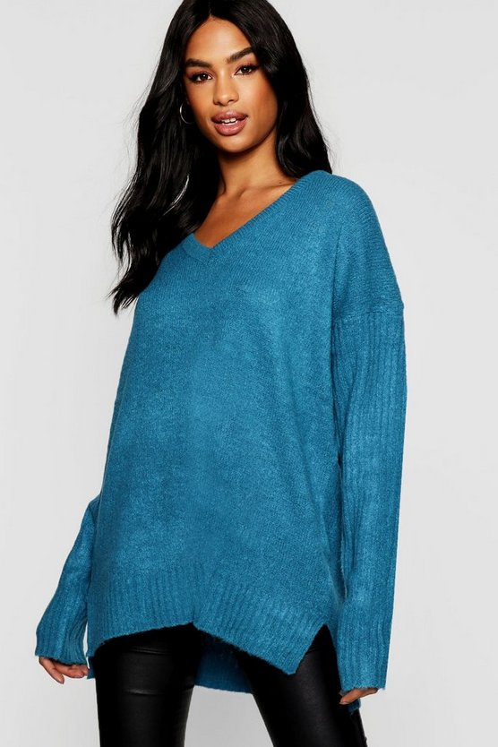 Womens Tall Rib Sleeve Oversized Sweater