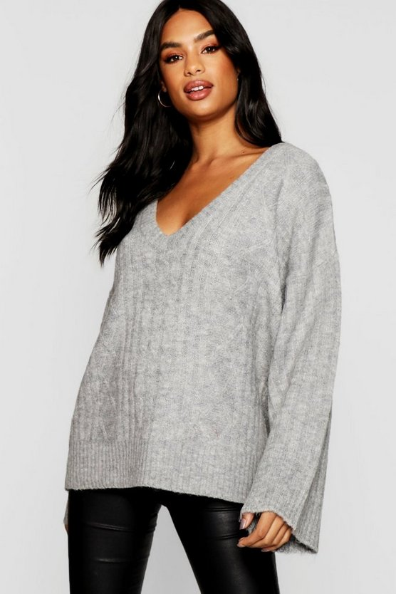 Tall Cable Knit V Neck Jumper